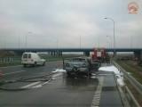 Pożar samochodu na autostardzie A4 w okolicy Bratkowic